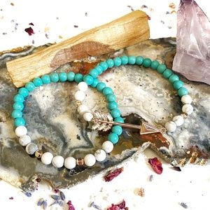 Rose Gold Arrow Bracelets with Turquoise